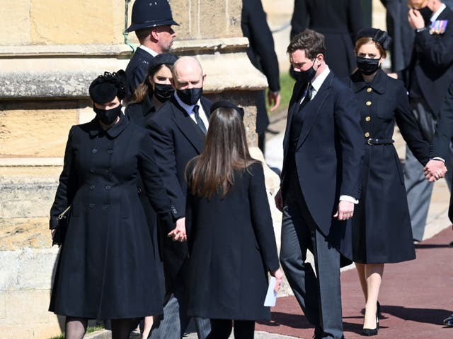 Zara and Mike Tindall at Prince Philip's funeral in April 2020