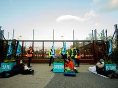 Extinction Rebellion activists blockade Faslane nuclear base in Scotland