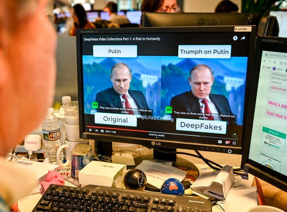 """<p>A journalist views video manipulated with artificial intelligence to potentially deceive viewers, or """"deepfake""""</p>"""
