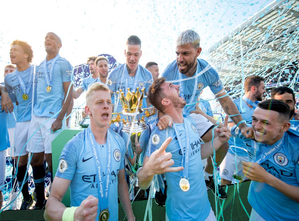 Manchester City players celebrating the title in 2019