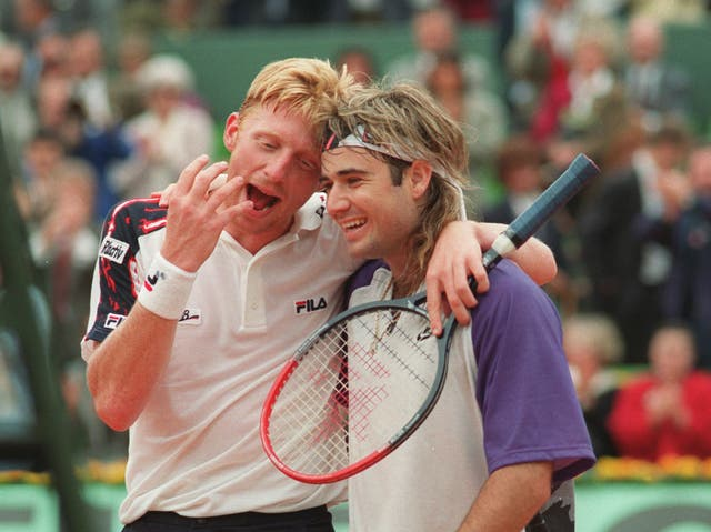 Boris Becker (left) and Andre Agassi at the 1991 French Open