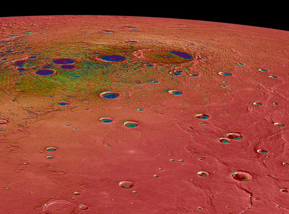 <p>The scorched planet has vast amounts of ice sitting at its poles – despite the surface reaching temperatures of 430C</p>
