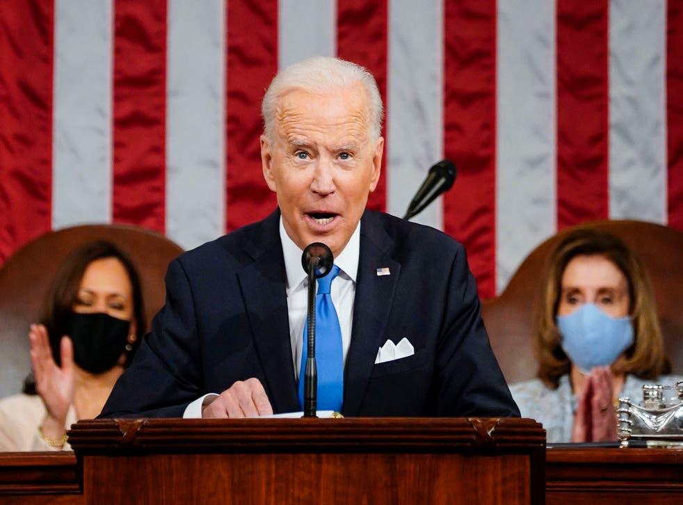<p>President Joe Biden addresses the joint session of Congress on 28 April</p>