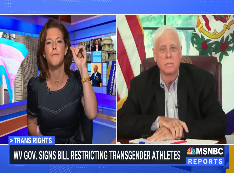 MSNBC anchor Stephanie Ruhle asks West Virginia governor Jim Justice why the state banned transgender athletes in female sports