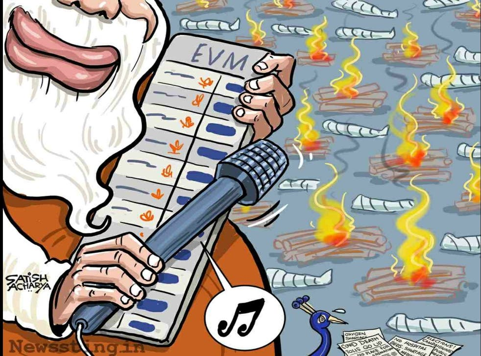 <p>A cartoon criticising Narendra Modi's decision to focus on winning elections while ignoring the rising death toll from the coronavirus pandemic</p>