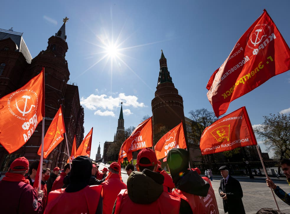 <p>Communist Party supporters gather to mark Labour Day, also knows as May Day, near Red Square in Moscow</p>