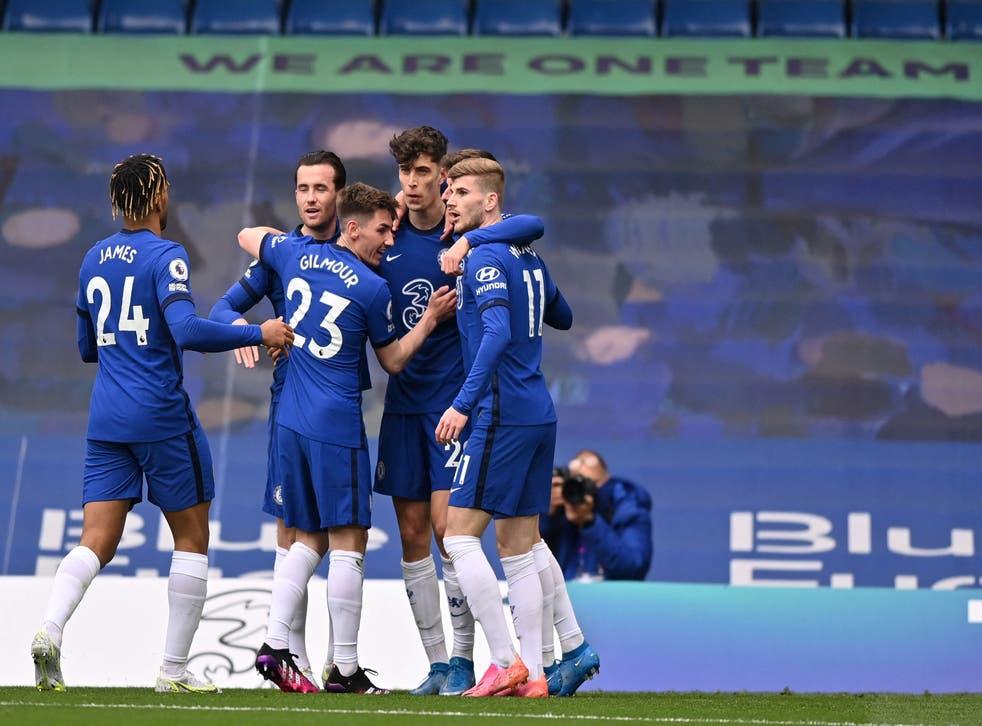Kai Havertz celebrates with his Chelsea teammates
