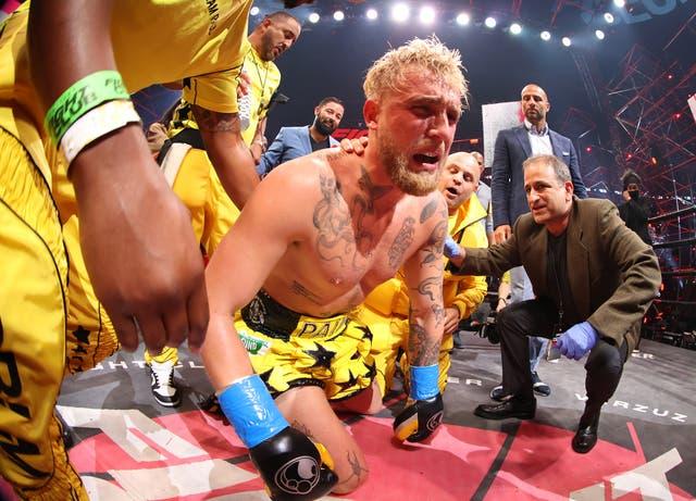 <p>Jake Paul después de su pelea en Atlanta con Ben Askren</p>