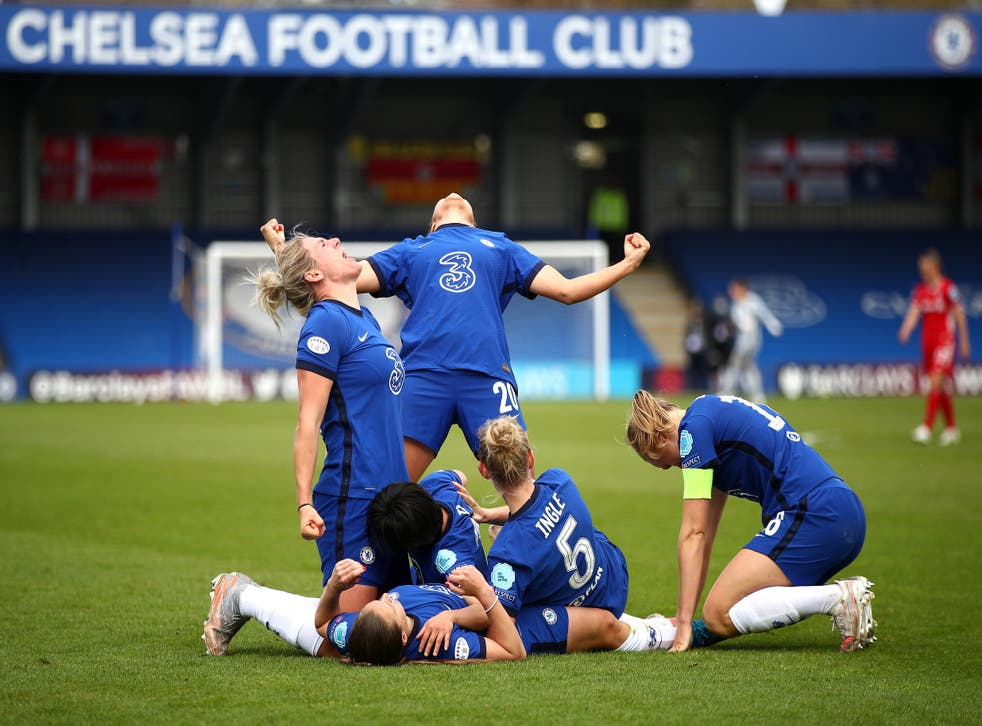 Chelsea celebrate after Frank Kirby scored a killer fourth goal