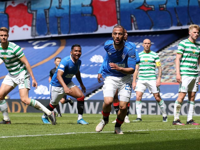Kemar Roofe celebrates his second goal in Rangers' victory over Celtic