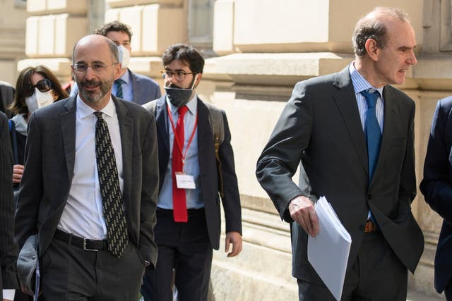 Reasons to be cheerful? Robert Malley, US Special Envoy for Iran, (L) on the way to talks in Vienna