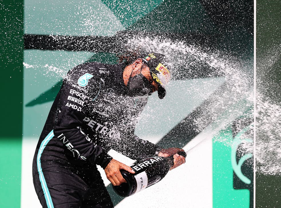 Lewis Hamilton celebrates his second win from three races so far this season