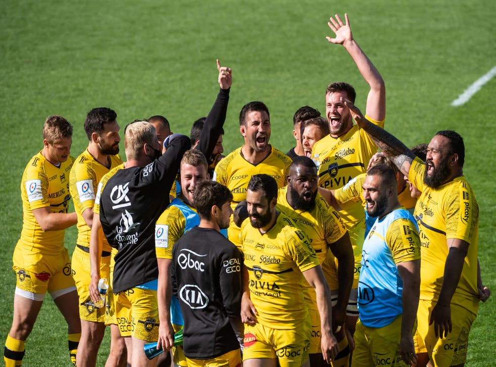 <p>La Rochelle's players celebrate reaching their first Champions Cup final</p>