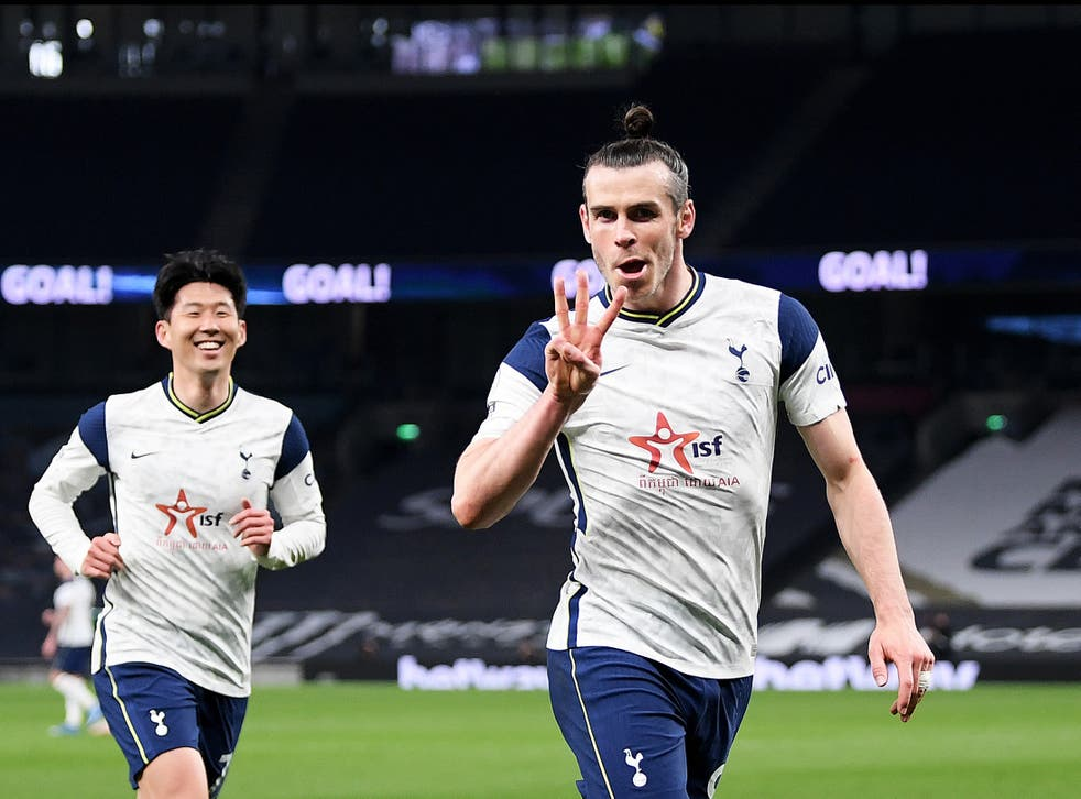 Gareth Bale (right) scored three times before Son Heung-min added Spurs' fourth