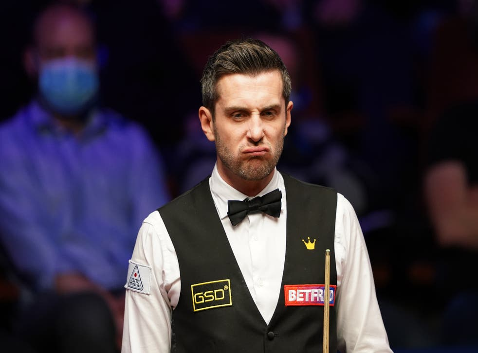 Mark Selby during the World Snooker Championship final against Shaun Murphy