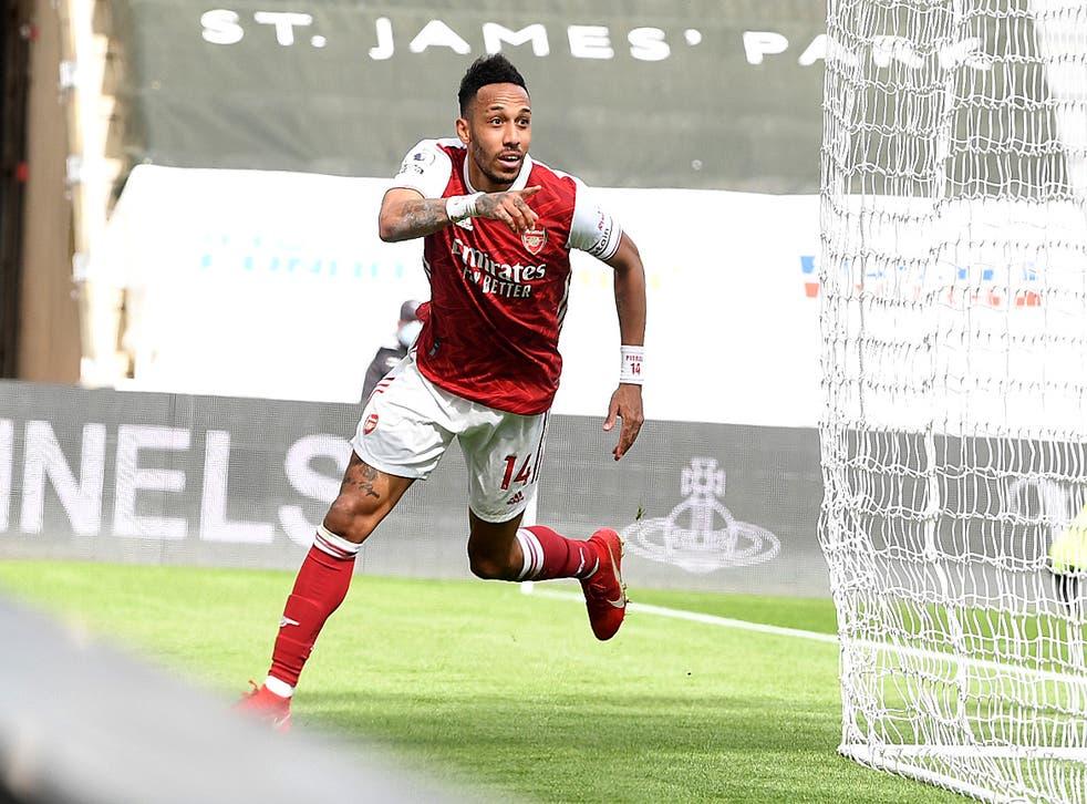 <p>Pierre-Emerick Aubameyang reached 10 Premier League goals for the season thanks to his strike against Newcastle</p>
