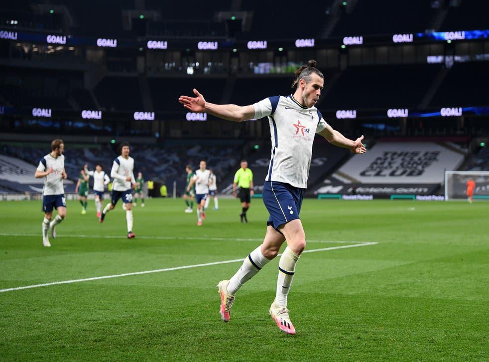 Gareth Bale of Tottenham Hotspur celebrates