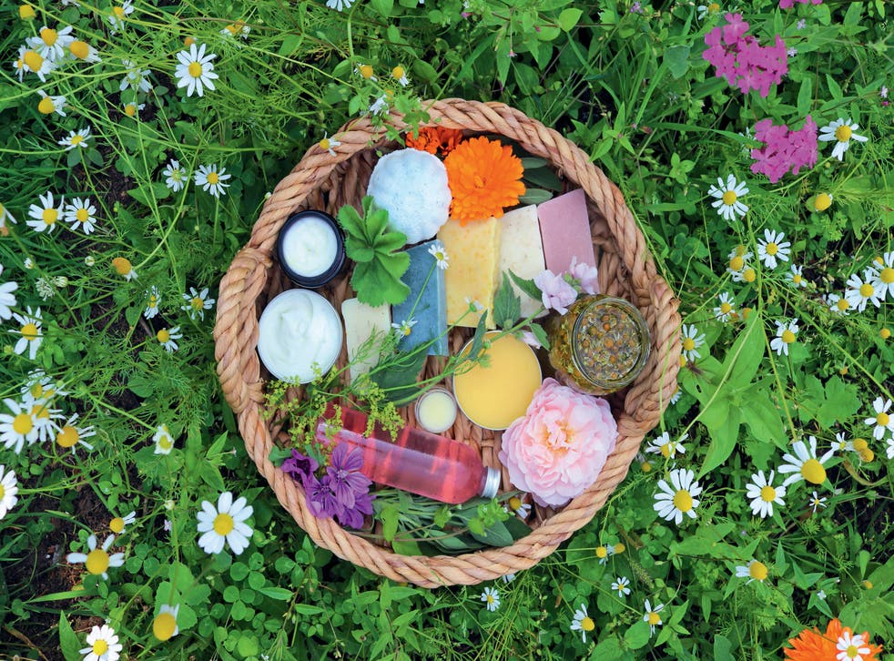 Natural skincare products in a basket