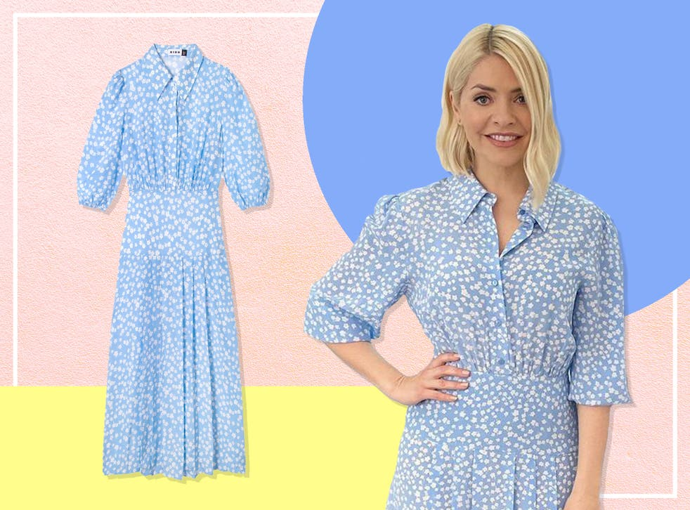 <p>Holly's turned to cult fashion brand Rixo for today's ensemble</p>