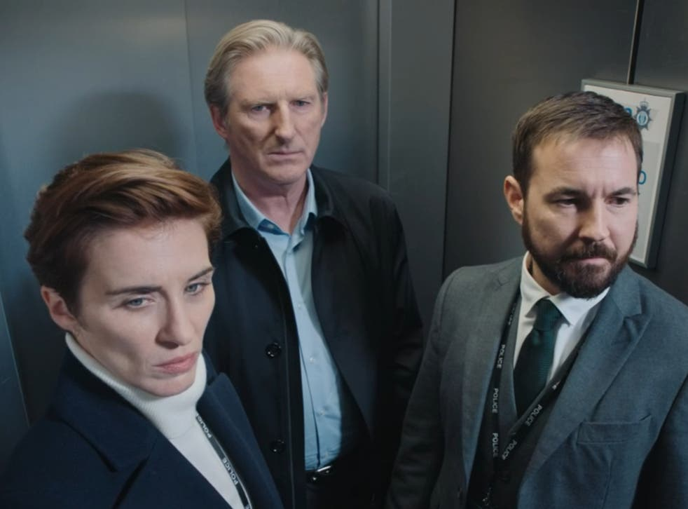 Now we're sucking diesel: Adrian Dunbar, Martin Compston and Vicky McClure in the Line of Duty finale