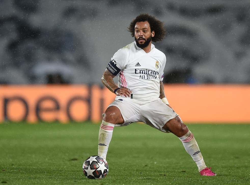 Marcelo of Real Madrid controls the ball against Chelsea