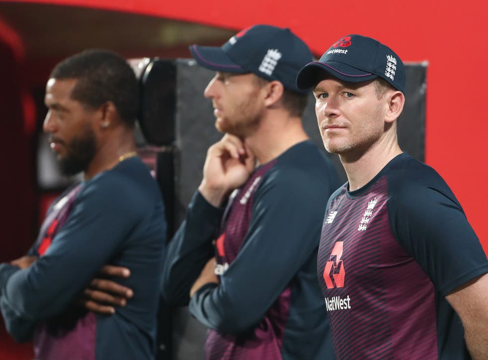 England cricket captain Eoin Morgan alongside Jos Buttler and Chris Jordan