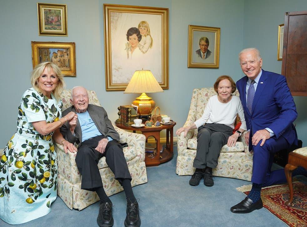 <p>The Carter Centre released an image of the former president Jimmy Carter and former first lady, Rosalynn Carter, alongside Joe Biden and Dr Jill Biden</p>