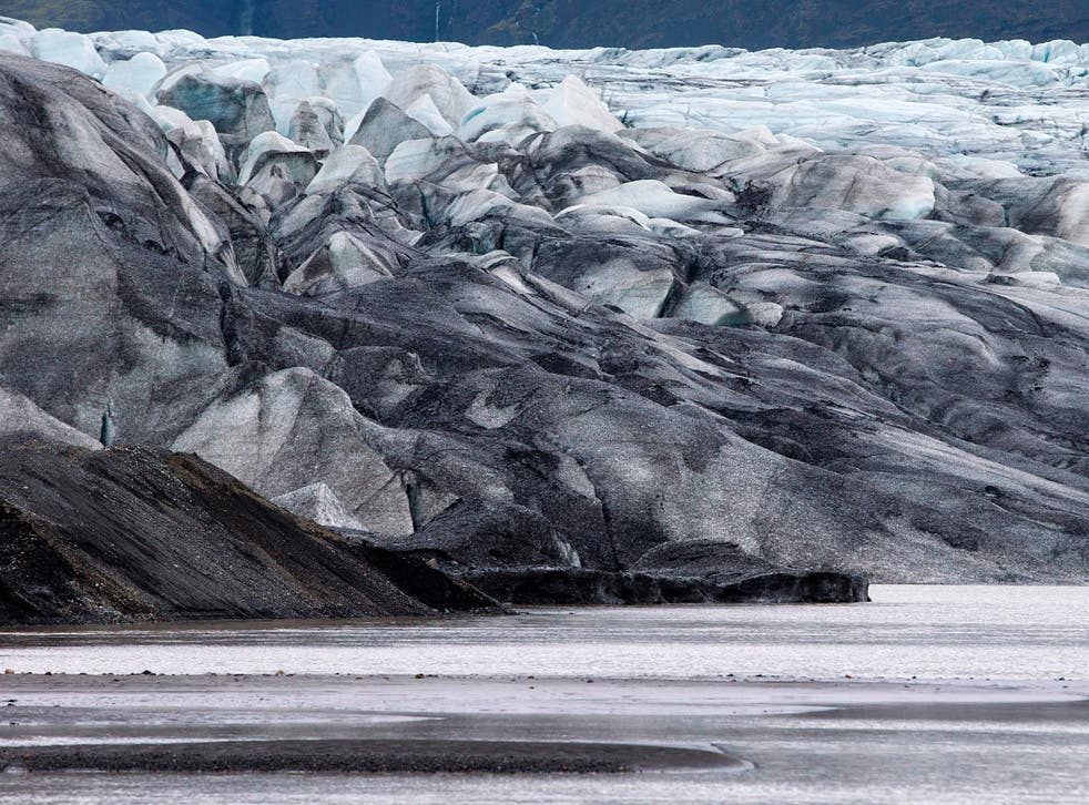 The Vatnajokull glavier in south eastern Iceland, one of the largest glaciers in Europe covering an area of 8,400 square kilometres