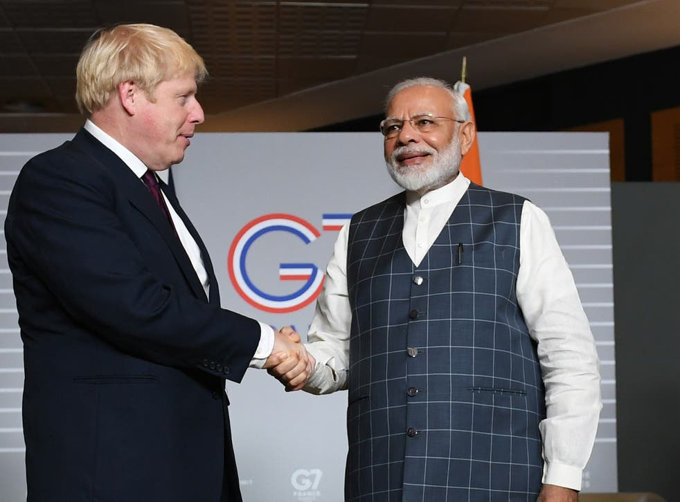 <p>Boris Johnson meets his Indian counterpart Narendra Modi for bilateral talks during the August 2019 G7 summit in Biarritz</p>