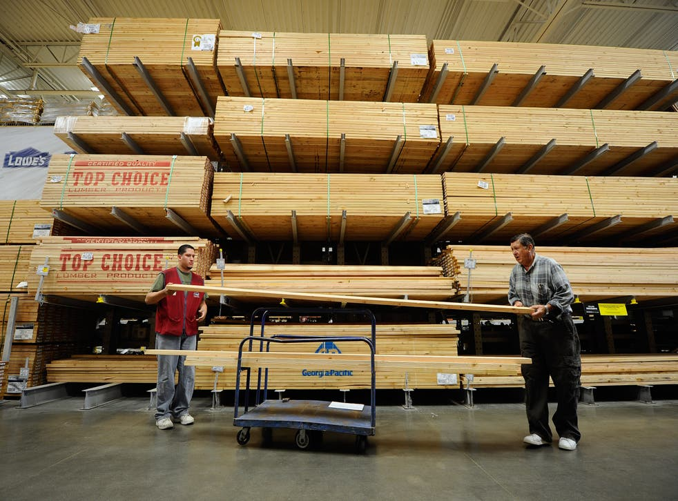 <p>The US has been hit by a lumber shortage during the pandemic which could be partially fuelled by a house building and DIY boom. Pictured is the lumber department at Lowe's.</p>