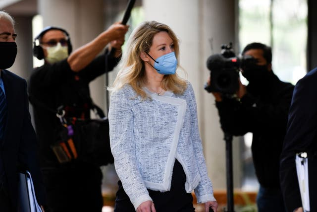 Theranos founder Elizabeth Holmes arrives at the Robert F. Peckham Federal Building to attend a federal court hearing in San Jose, California