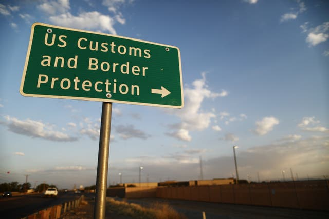 <p> U.S. Customs and Border Protection (CBP) sign is posted outside the U.S. Border Patrol station (R) where lawyers reported that detained migrant children were held unbathed and hungry on June 25, 2019 in Clint, Texas. </p>