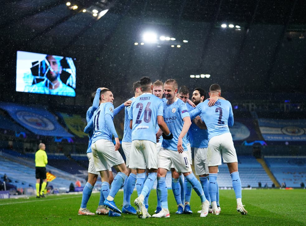 Manchester City celebrate Riyad Mahrez's second goal