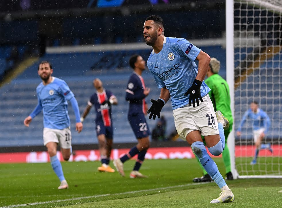 <p>Riyad Mahrez celebrates putting  the tie beyond PSG</p>