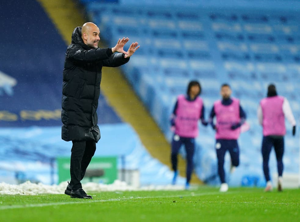 Pep Guardiola gives orders from the touchline
