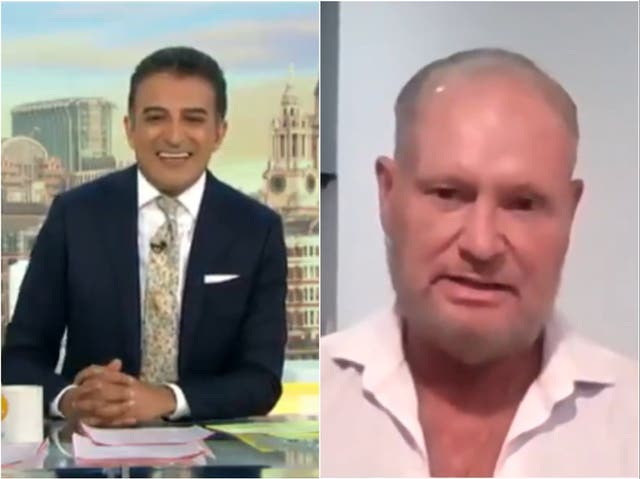 (Left) Adil Ray and (right) Paul Gascoigne, as seen on Good Morning Britain