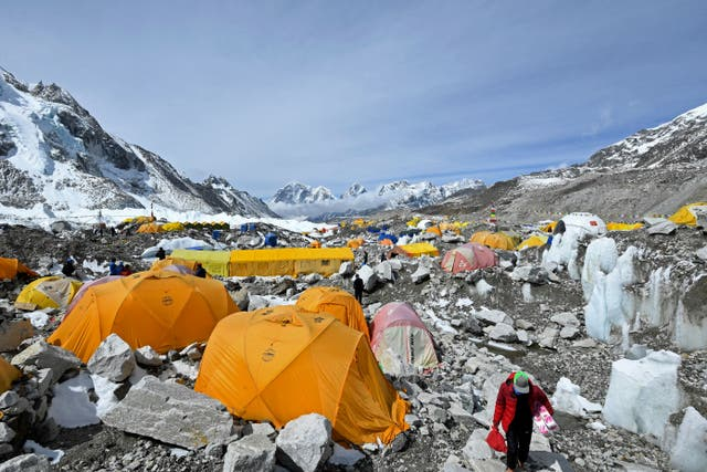 <p>Tents of mountaineers are pictured at the Everest base camp in the Mount Everest region of Solukhumbu district on May 3, 2021. Nepal Mountaineering Association has asked climbers to bring back empty oxygen canisters amid the oxygen shortage in hospitals across country. </p>