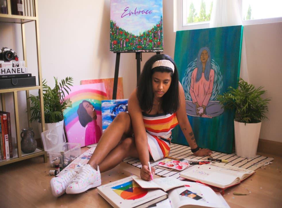 <p>Artist Sravya Attaluri working in her studio</p>