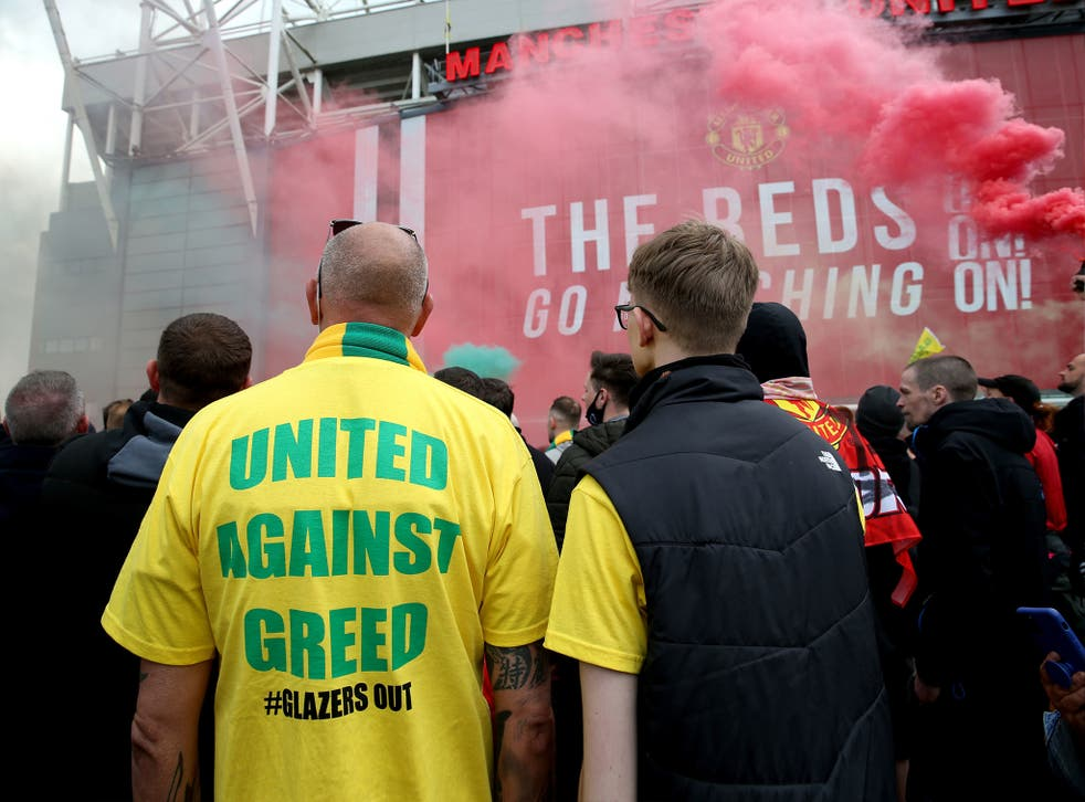 <p>Fans gather outside Old Trafford earlier this month to protest against the Glazer family, the owners of Manchester United, before their Premier League match against Liverpool. The fixture was subsequently postponed</p>