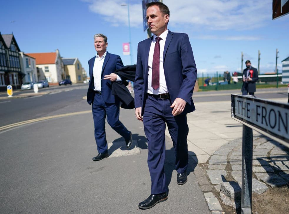<p>Keir Starmer and Paul Williams (right) visit the Seaton Carew seafront</p>