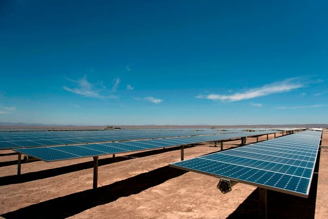 A solar plant near El Salvador, in the Atacama desert, northern Chile. A massive project, to be located on public land in Southern California, has passed final approvals this week