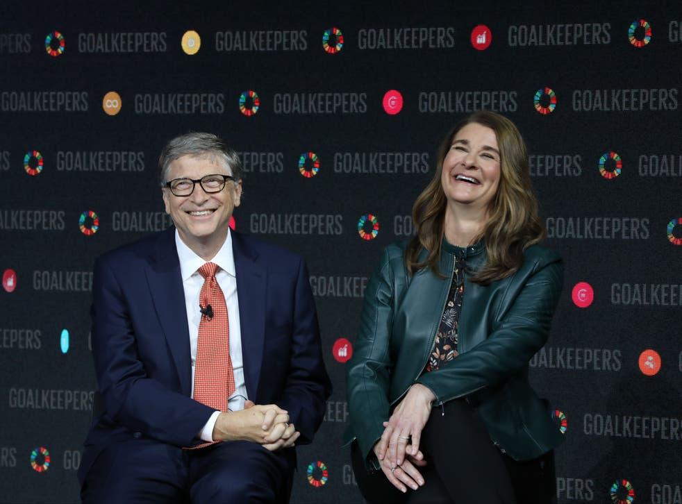 Bill Gates y su esposa Melinda Gates hablan en el Lincoln Center en 2018