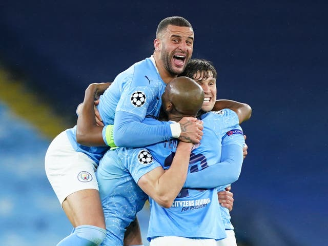 Manchester City celebrate reaching the Champions League final