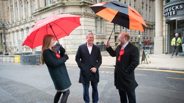 Leader of the Labour Party Sir Keir Starmer (centre) with West Midlands Metro Mayor candidate Liam Byrne (far right) and Labour Deputy Leader, Angela Rayner (far left) during a visit to Birmingham, whilst on the election campaign trail