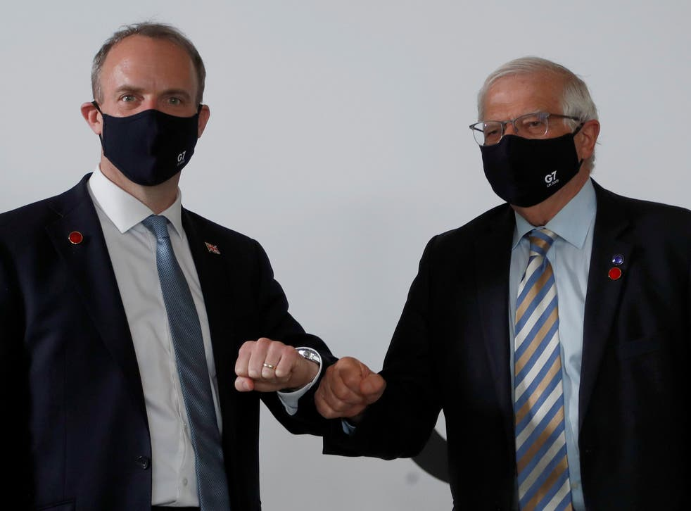 <p>Britain's foreign secretary Dominic Raab (left) and EU foreign affairs representative Josep Borrell meet ahead of talks during Wednesday's G7 meeting in London</p>