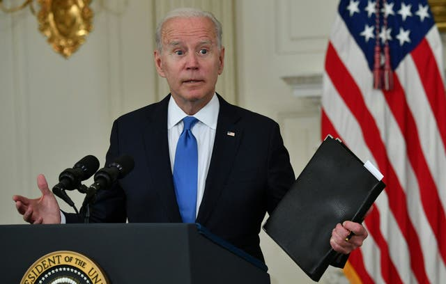 <p>US President Joe Biden delivers remarks on the American Rescue Plan in the State Dining Room of the White House on May 5, 2021.</p>