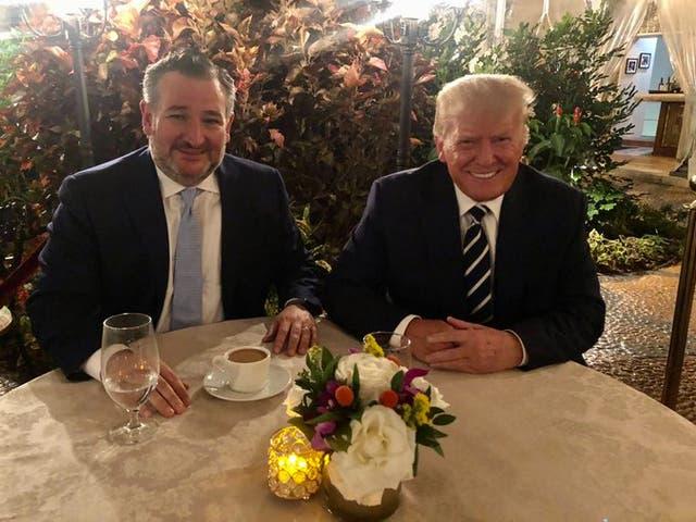 <p>Senator Ted Cruz and former President Donald Trump dine at Mar-a-Lago</p>