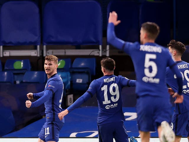 Timo Werner (left) nodded the ball into an open goal to put Chelsea ahead