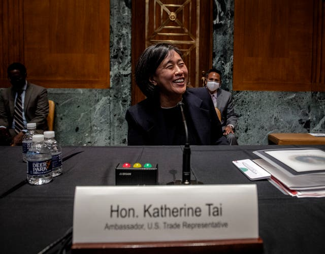 US Trade Representative Katherine Tai pictured at a Senate Appropriations hearing in April 2021