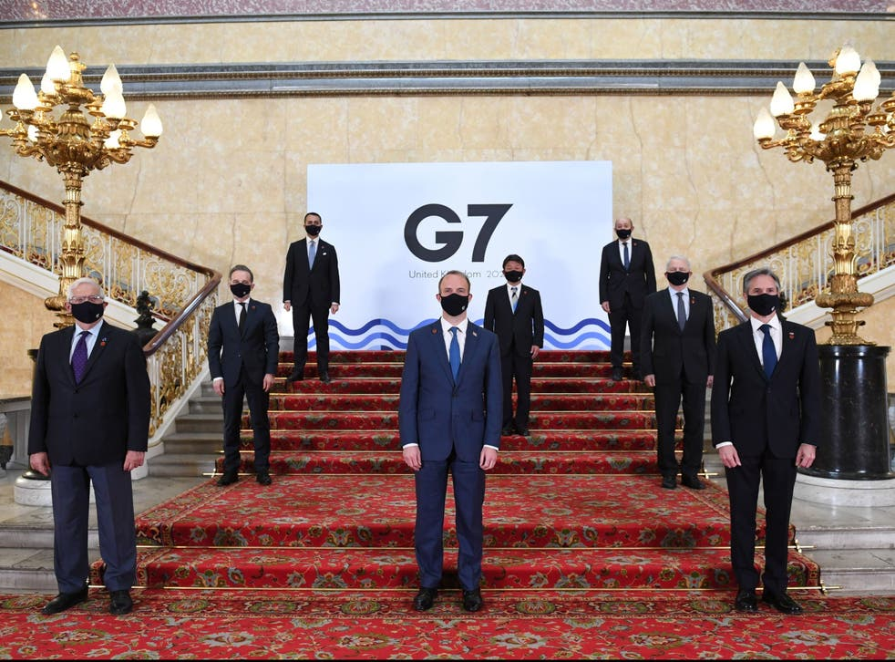 Representatives pose for a photo ahead of the G7 Foreign and Development Ministers meeting